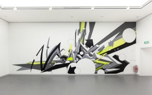 """Mirko Reisser (DAIM), """"DAIM - up and around"""", taping on wall, 1050 x 405 cm, 2011 