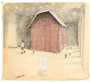 Michaël Borremans, The house of opportunity (the chance of a lifetime) 2003, Watercolor, pencil and color pencil on paper, 31.5 x 35 x 2 cm, Collection S.M.A.K., Photo credit: Dirk Pauwels