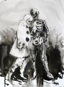 Ulrike Theusner Lady and Death, 2014, Tusche auf Papier 32 x 26 cm