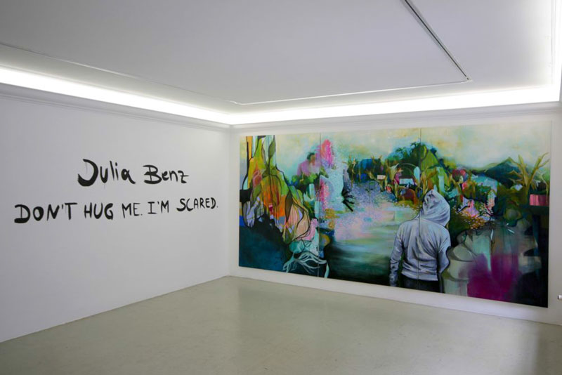 Julia Benz, Lost and Found, 2015, acrylic, oil & ink on canvas, 220 x 450 cm (triptych)