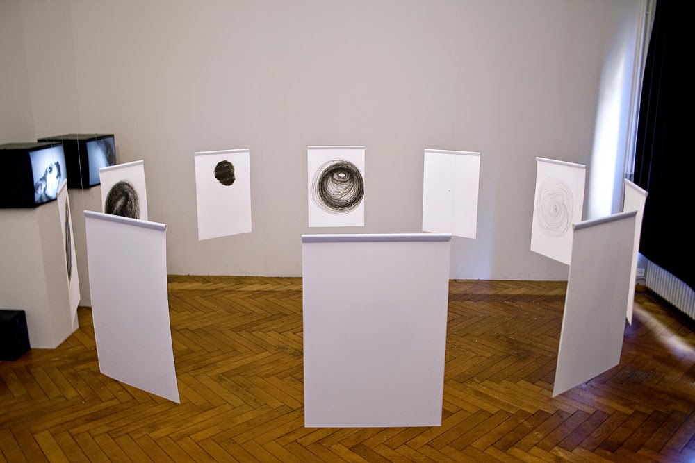 Ahmed Kamel, SPIRAL Video-Installation (2 channels-loop) / Drawing-Installation, Bern, Switzerland (2010)