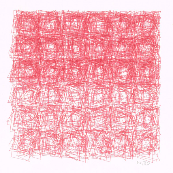 Vera Molnar, Squares, plotterdrawing, ink on paper, ca. 30 x 30 cm, 1986