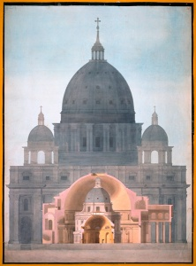 Charles Tyrrell. Vergleichende Darstellung von Petersdom und Pantheon, Rom, Radcliffe Camera, Oxford, und Soanes Rotunde in der Bank of England, London, Oktober 1814 © Sir John Soane's Museum