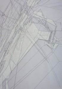 Riet Eeckhout (*1975) Drawing out Gehry, Detail 2018, Polyesterfolie, Bleistift und weiße Wachskreide 900 x 450 mm Courtesy Drawing Matter,  © Riet Eeckhout